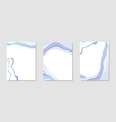 collection abstract blue liquid marbled vector image