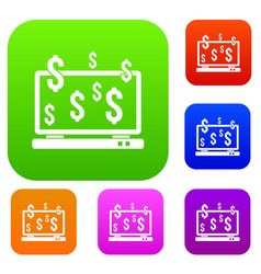 Computer monitor and dollar signs set collection vector