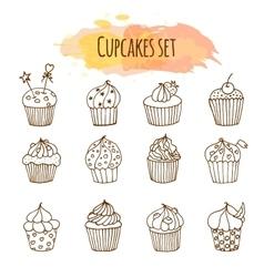 cupcake Set of 12 cute hand vector image