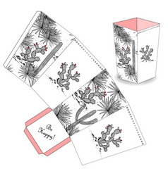 cute popcorn box with hand drawn sketch cactus vector image