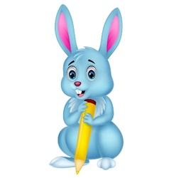 Cute rabbit cartoon holding yellow pencil vector image