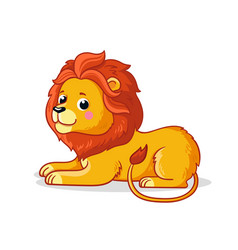 cute young lion is sitting on a white background vector image