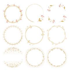 dandelion golden doodle wreath frame collection vector image