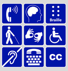 Disability symbols and signs collection vector