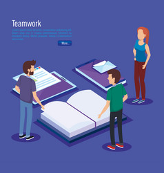 education icons with teamwork paople isometric vector image