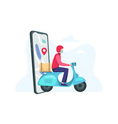 Fast delivery scooter on mobile vector
