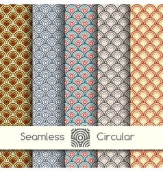 Five seamless circular patterns vector