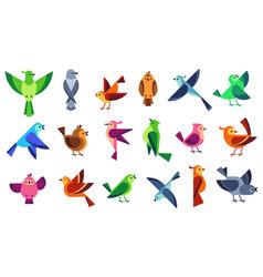 Flat birds flying chickadees bird tweeting dove vector