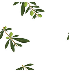 Floral seamless pattern with olive tree leaves vector