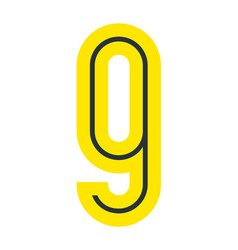 Font for your design number nine in simple style vector