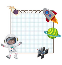 Frame design template with astronaut and spaceship vector