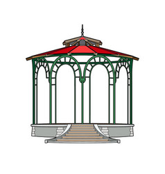 Gazebo with red roof vector