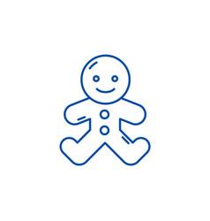 gingerbread man line icon concept gingerbread man vector image
