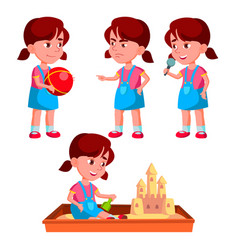 Girl kindergarten kid poses set playful vector