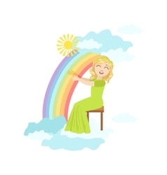 Girl playing harp with rainbow and clouds vector