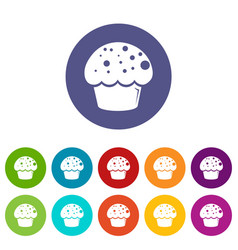 glaze cupcake icons set color vector image