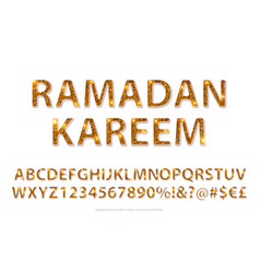 golden english alphabet in islamic style vector image