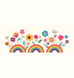 hello summer banner design with flowers vector image