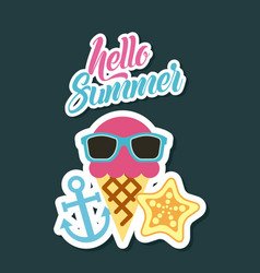 Hello summer flat vector
