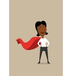 Hero cartoon businesswoman in red cape vector image