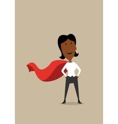 Hero cartoon businesswoman in red cape vector