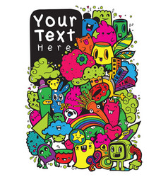 Hipster hand drawn crazy doodle monster vector