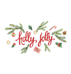 Holly jolly lettering with watercolor vector
