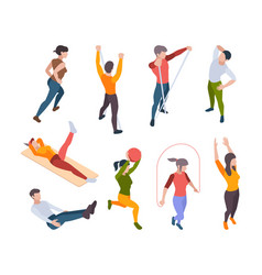 home workout active people making sport exercises vector image