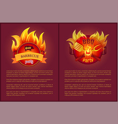hot barbecue icons with burning badges vector image