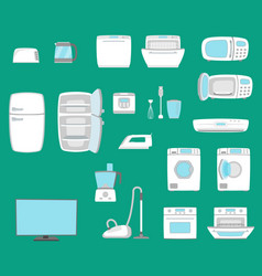 Household appliances set home technics vector
