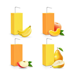 juice package set box with drinking straw vector image