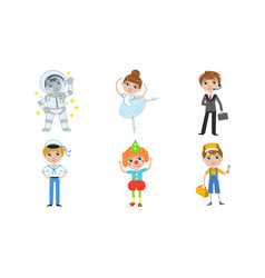 kids different professions set astronaut vector image