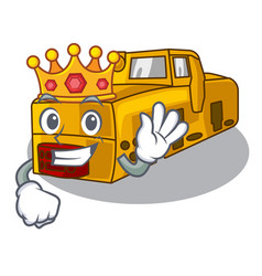 King locomotive mine cartoon toy above table vector
