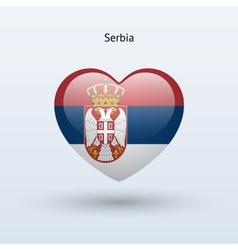 Love Serbia symbol Heart flag icon vector