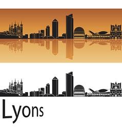 Lyons skyline in orange background vector
