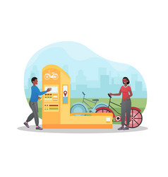 Male and female character using bicycle rental vector