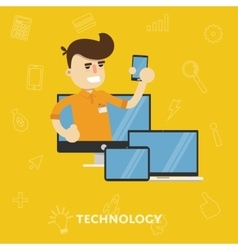 Man with a variety of gadgets laptop tablet vector