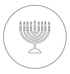 Menorah for hanukkah icon black color in circle vector