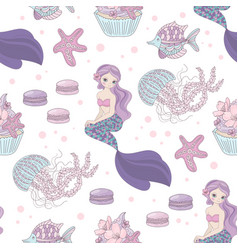 mermaid wedding sea girl seamless pattern i vector image