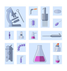 microbiology set equipment and bacterias vector image