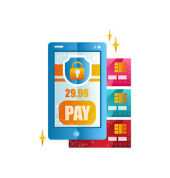 modern smartphone and credit cards wireless money vector image