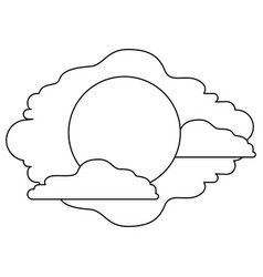 monochrome silhouette of the sun and clouds vector image