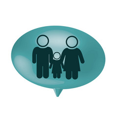 Oval speech with pictogram of couple and son vector
