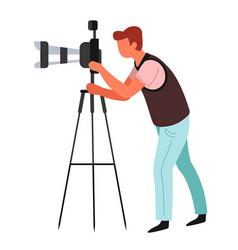 Photographer journalist or paparazzi tripod vector