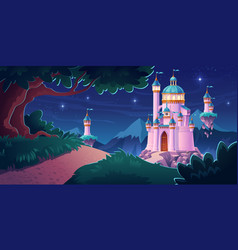 pink magic castle princess fairy palace at night vector image