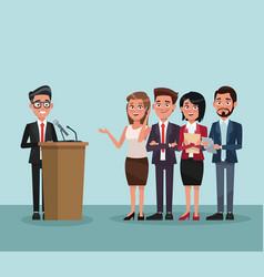 politician speaking cartoon vector image