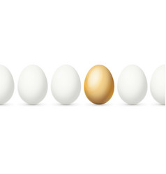 realistic detailed 3d white and gold egg on a row vector image