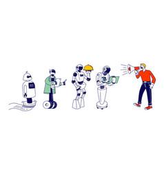 Robots artificial intelligence in human life man vector