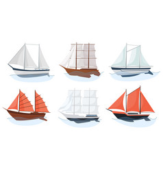 sea sailboats ships set water carriage and vector image