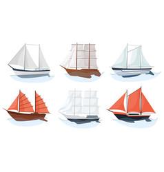 sea sailboats ships set water carriage vector image